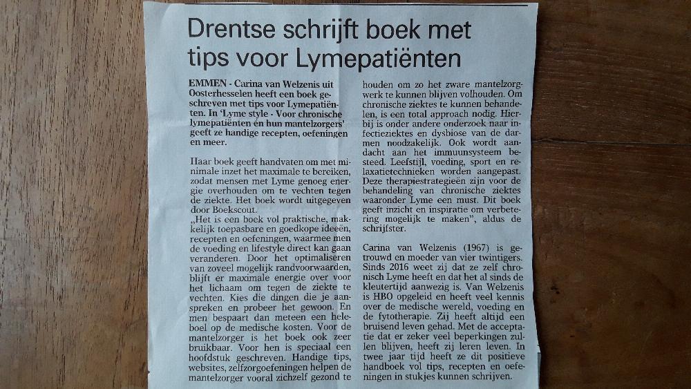 Carina van Welzenis in Emmense krant
